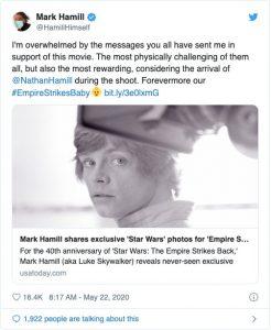 『スター・ウォーズ』マーク・ハミルが秘蔵写真を公開!! ダース・ベイダーのあの名台詞に隠された秘話も明かす